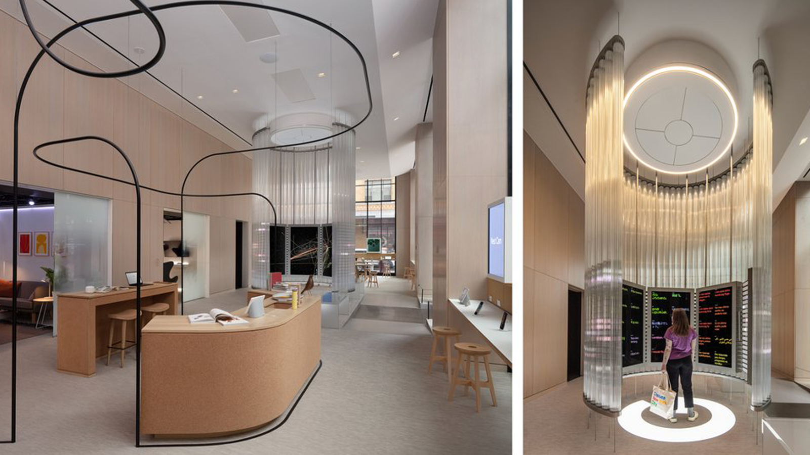 Two views of the store's interior entryway, with a desk and interactive structure