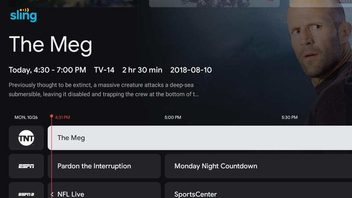 Sling TV on the Google TV Live tab.