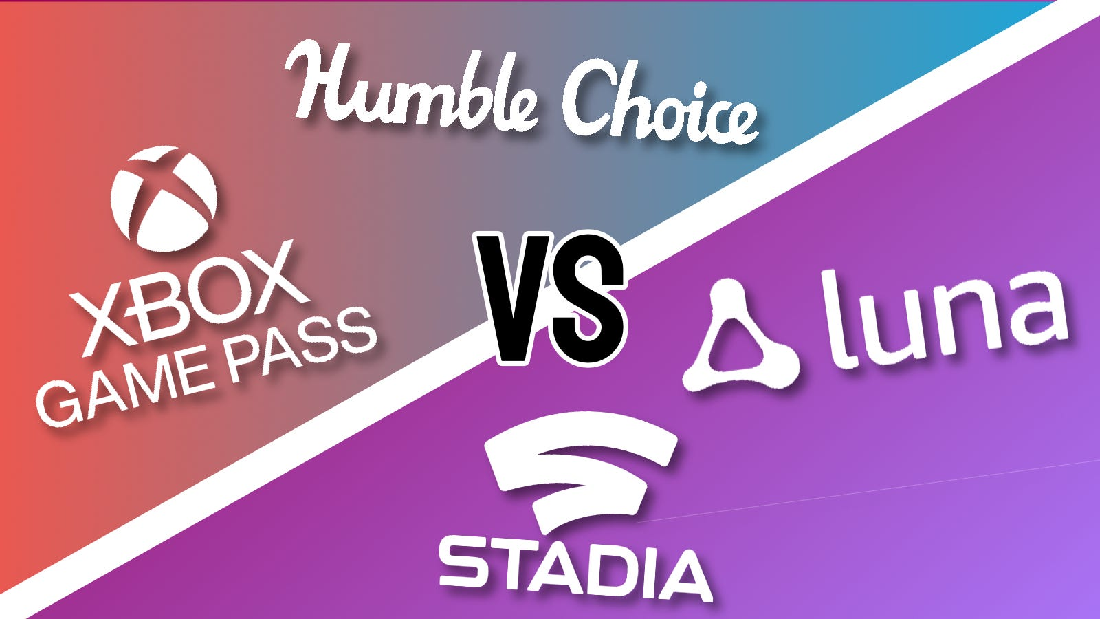 Xbox Game Pass Humble Choice, Google Stadia, and Amazon Luna logos against multi-colored backdrop