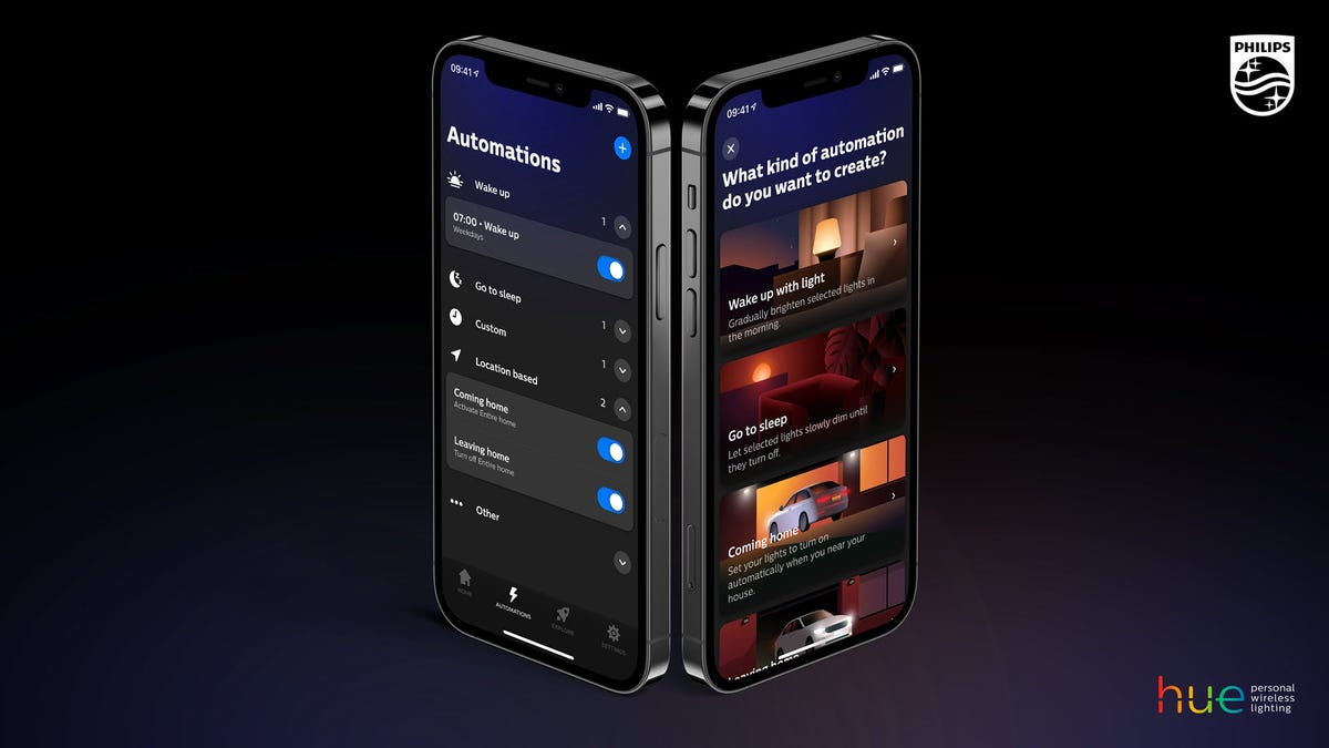 An updated Philips hue app on an iPhone