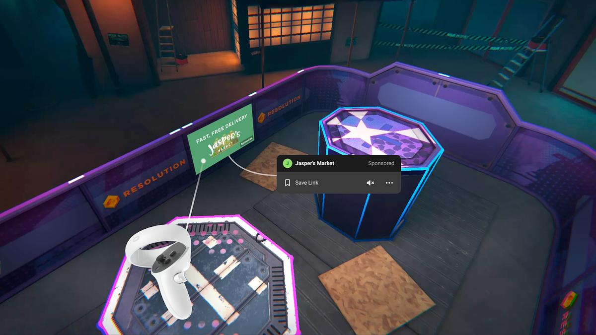 Oculus Quest ads in game.
