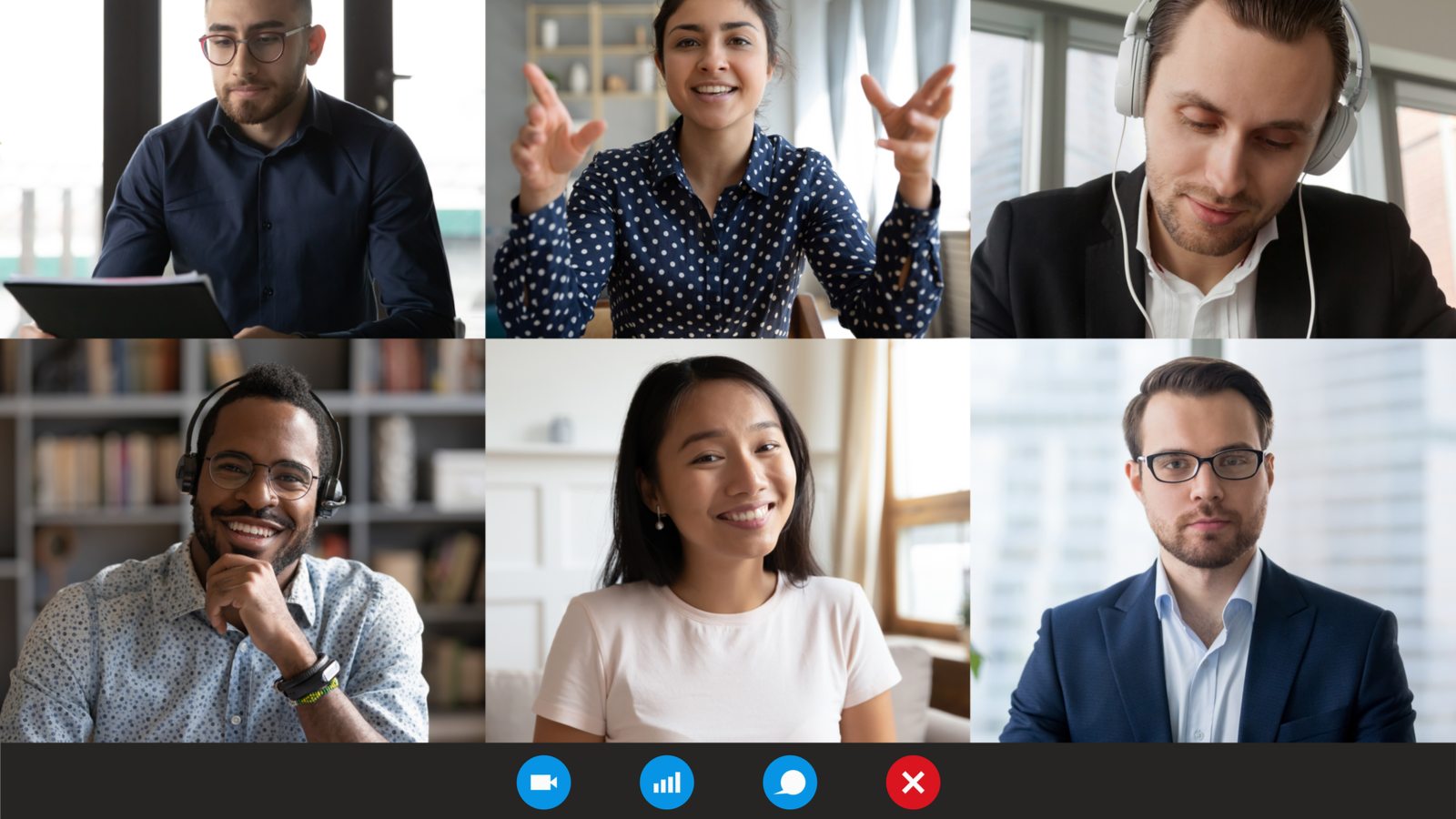 Six people talking and listening on a professional video call