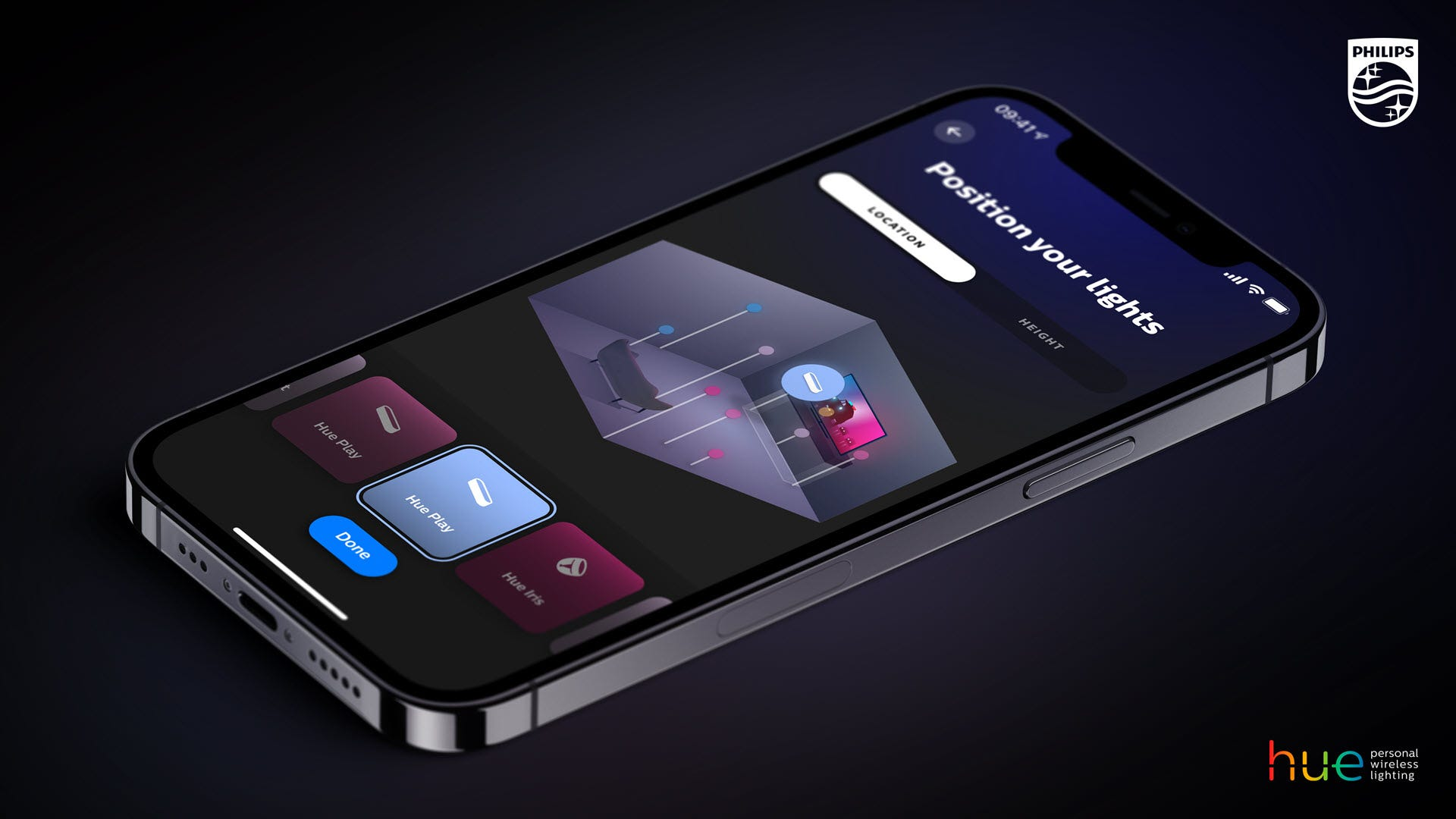 The Philips Hue app with a room position interface.
