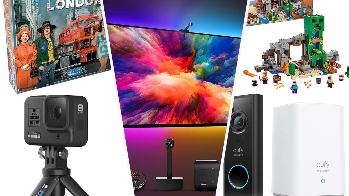 Day 1 Amazon deal collage consisting of a camera, TV lighting, LEGOs, smart home doorbell, and a board game.
