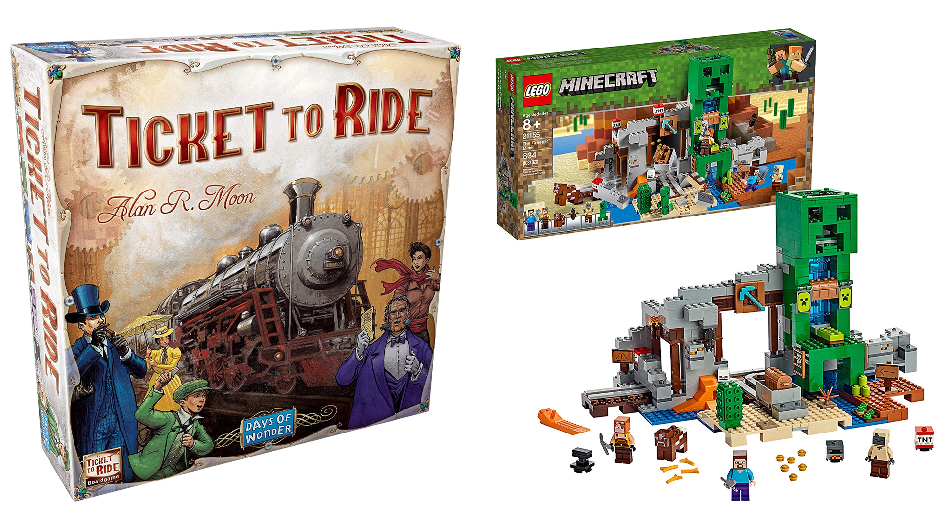 The Ticket to Ride board game and the LEGO Minecraft Creeper set.