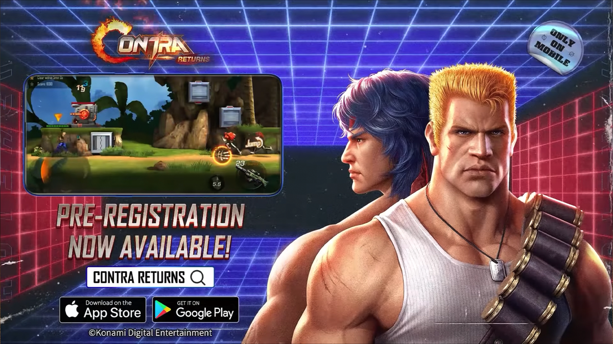 A banner advertising the new Contra game.