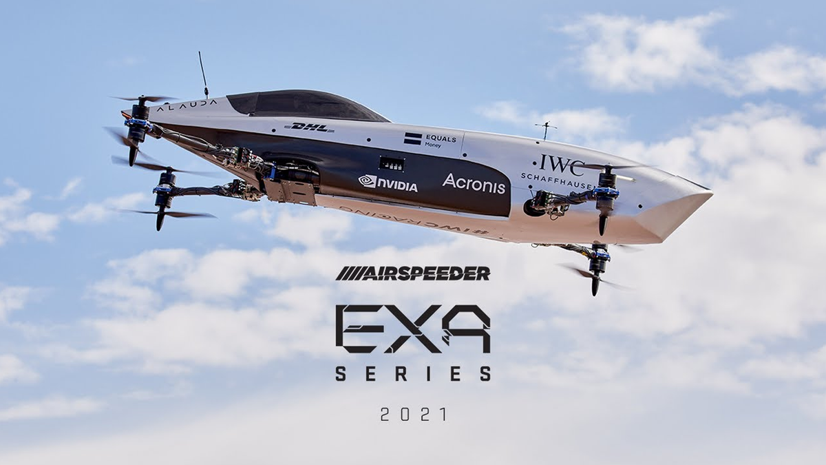 The Airspeeder EXA flying in the sky.