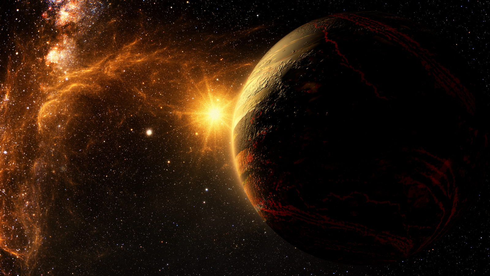 Exoplanet exploration fantasy and surreal landscape 3D rendered