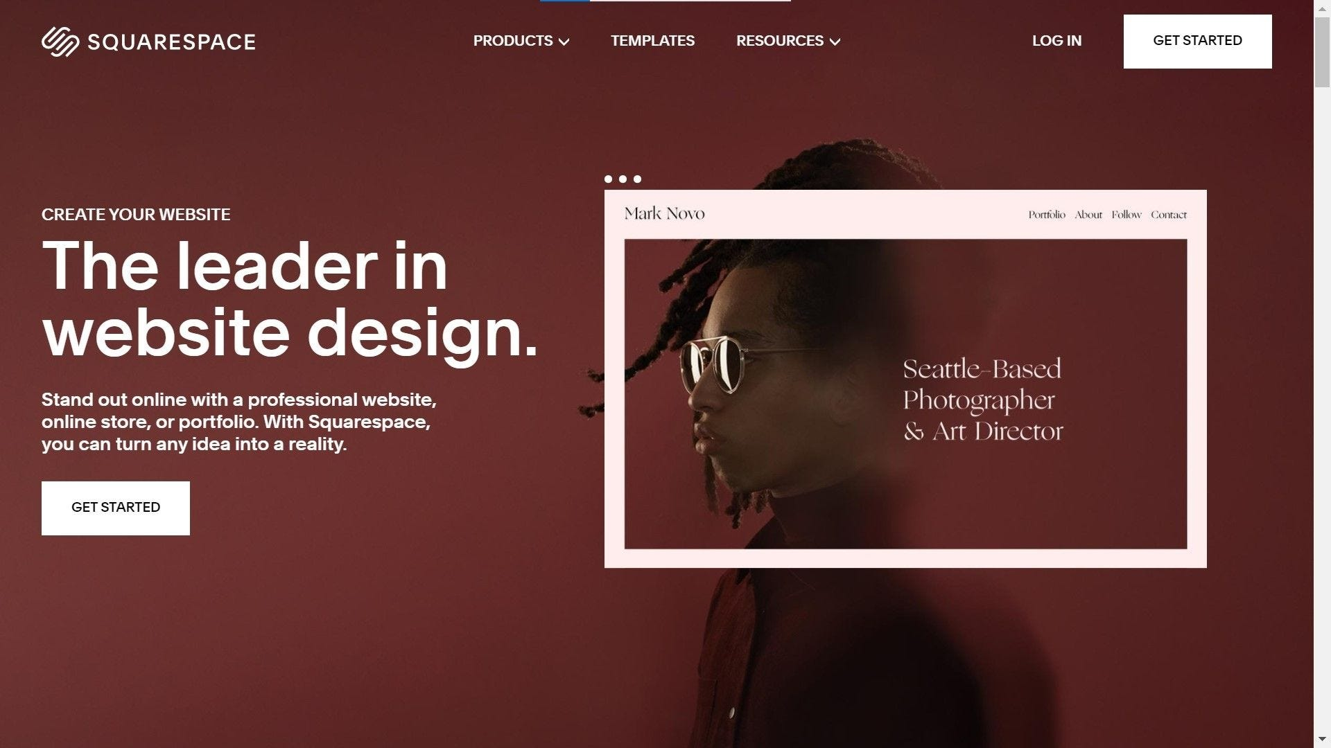 squarespace website builder home page