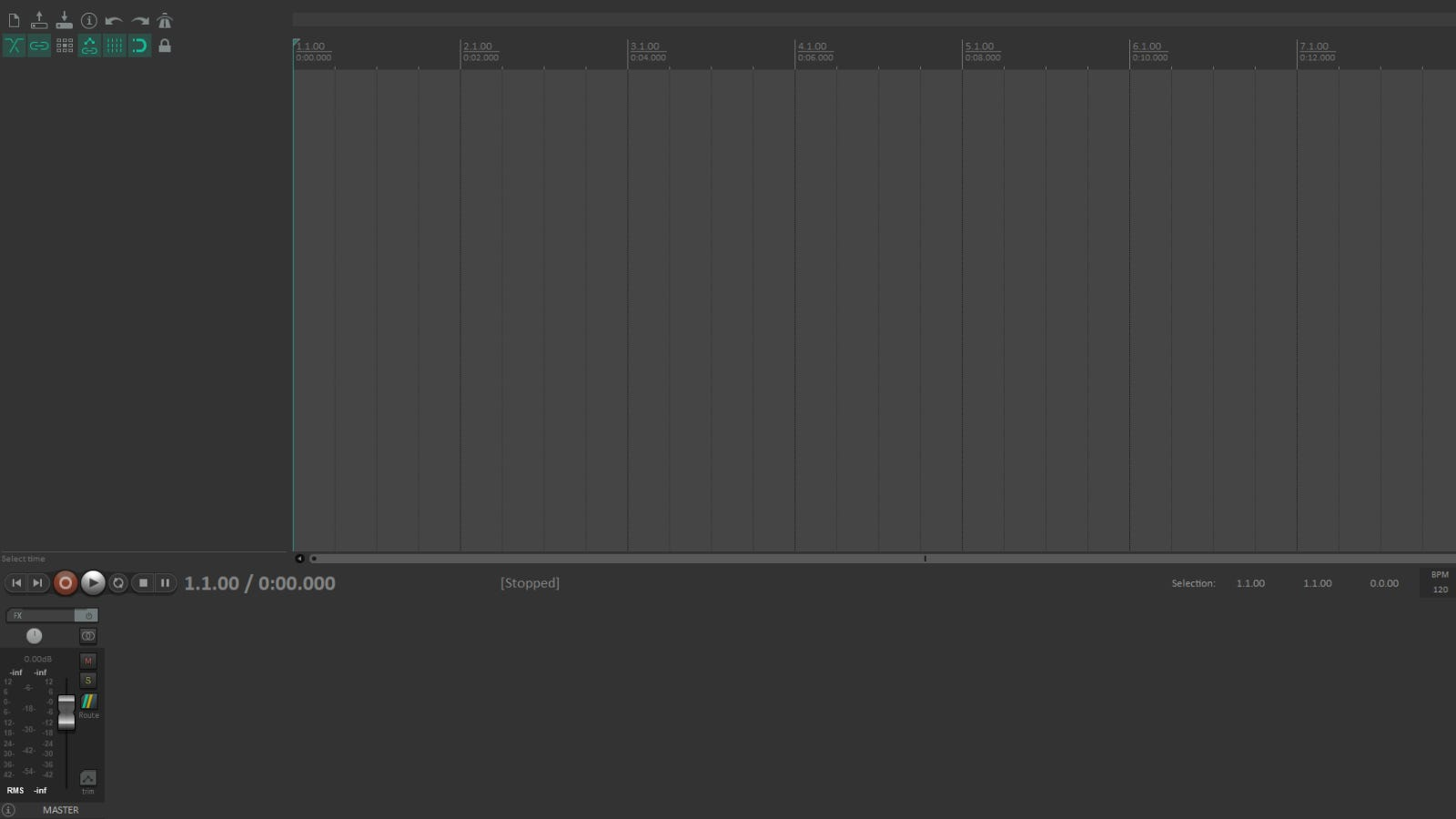 Reaper main audio editing page