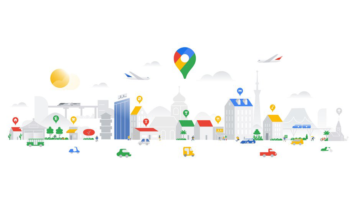 Google graphic featuring a city with buildings, cars, and trees