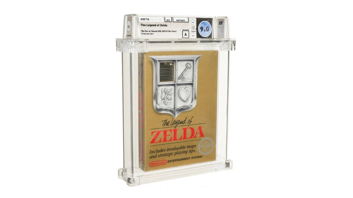 A sealed copy of 'The Legend of Zelda' for NES