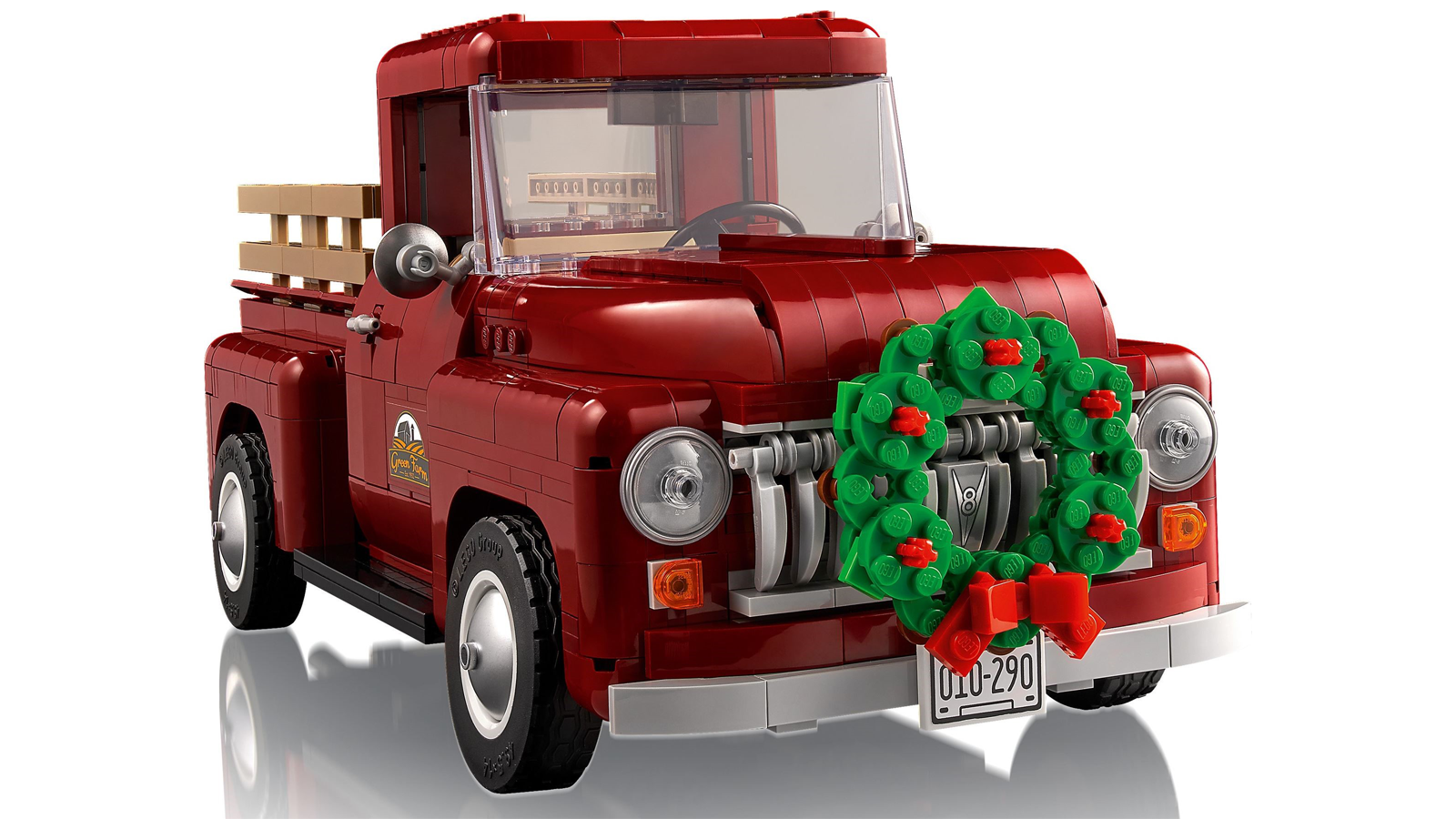 Lego van with Christmas wreath on the grille
