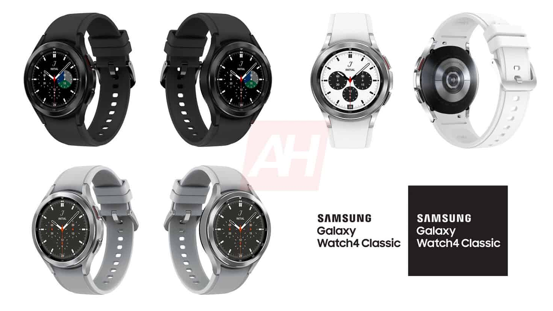 Leaked Galaxy Watch 4 renders in black, white, and silver.