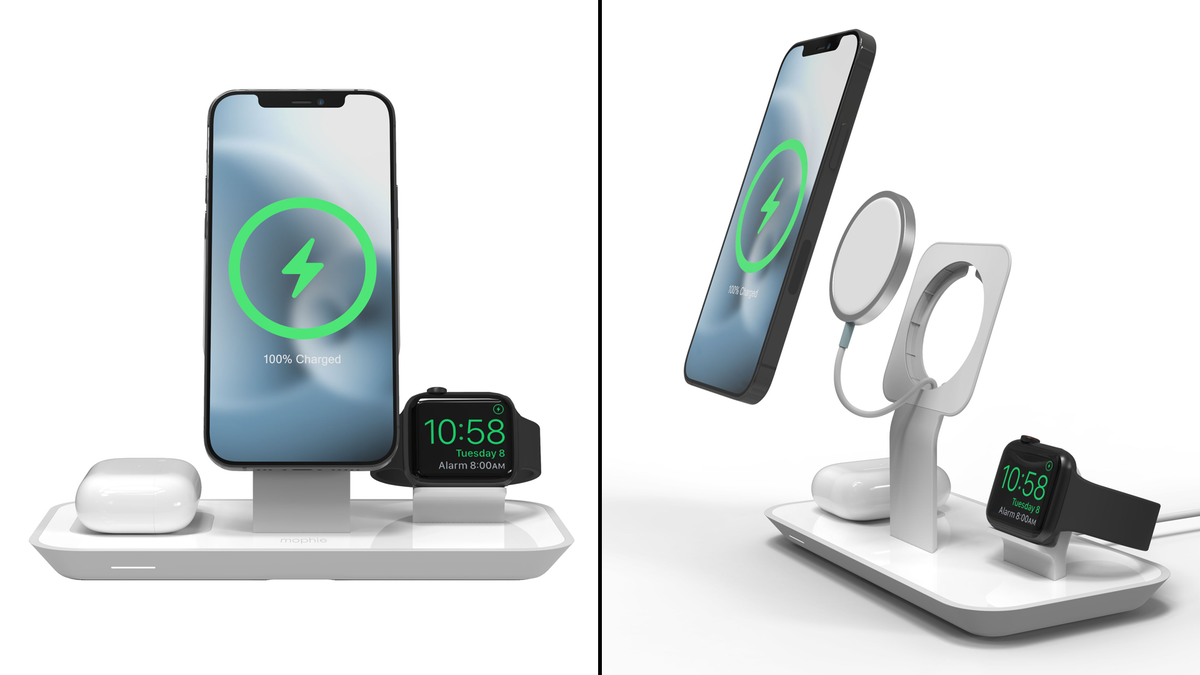 Head-on and exploded views of Mophie's 3-in-1 wireless stand charger