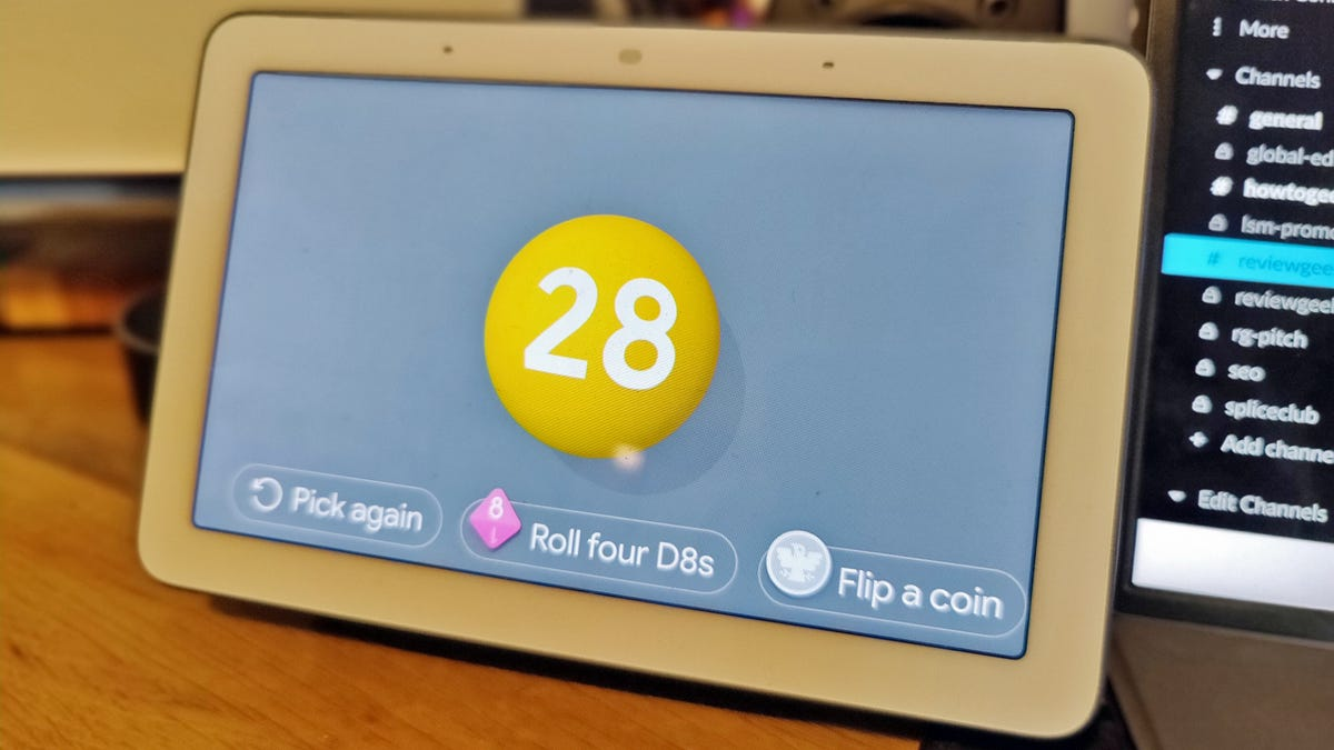"""A Google Nest hub with the number """"28"""" on the screen"""
