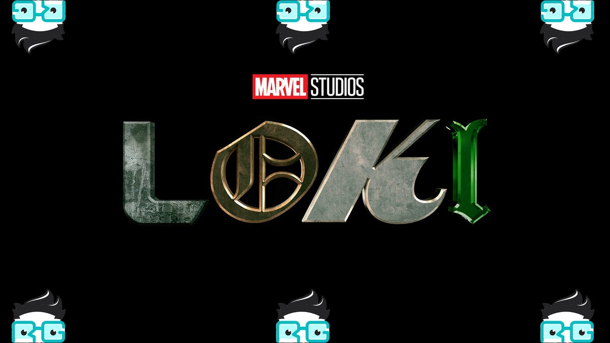 The Loki logo surrounded by six Review Geek Logos
