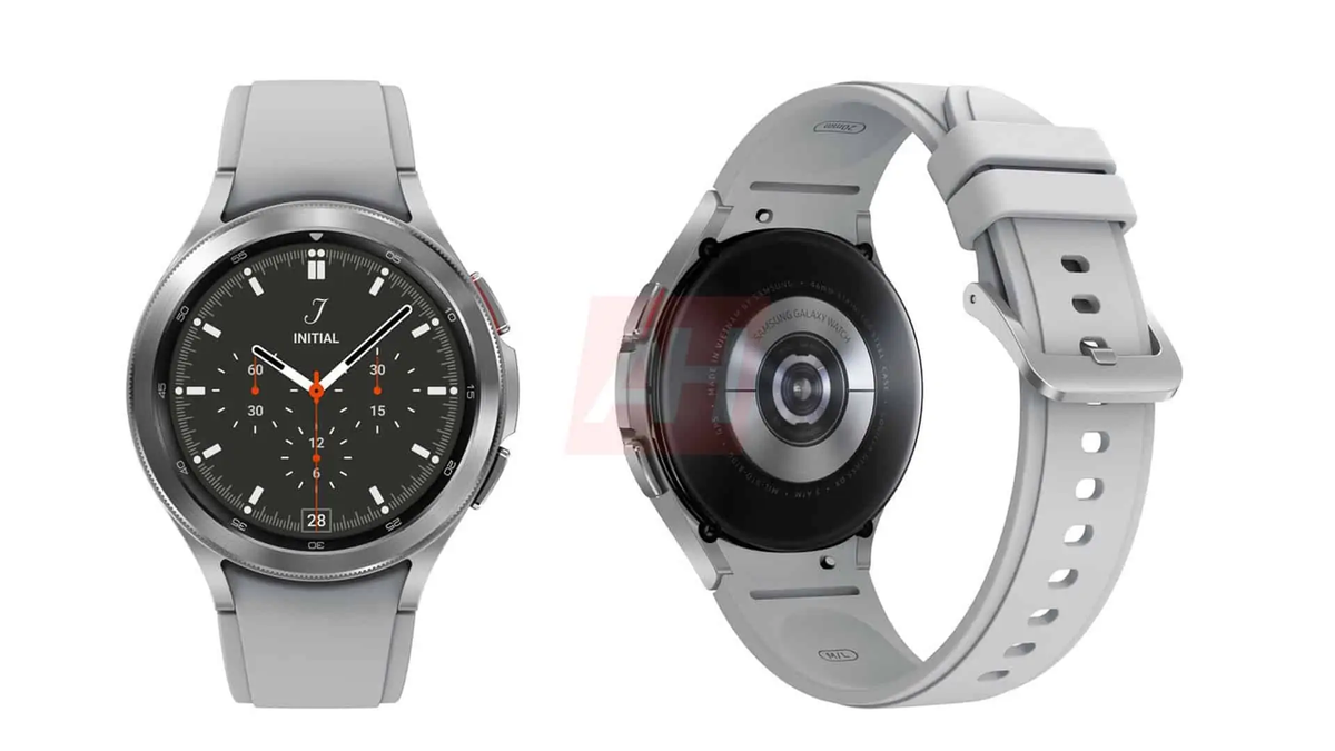 The leaked Galaxy Watch 4 render in silver.