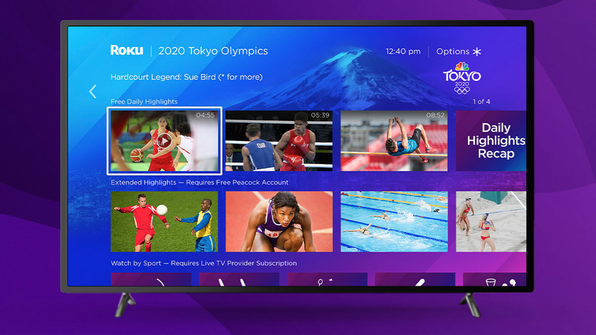 TV displaying Roku interface with Olympic games