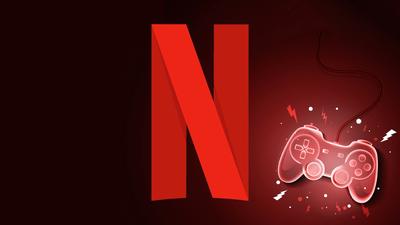 Il logo Netflix e un gamepad.