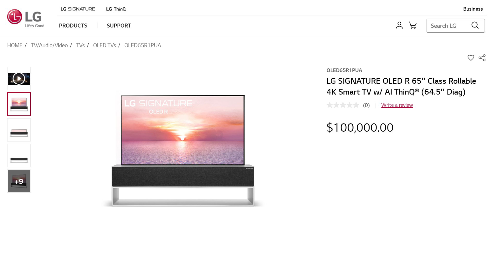 Product page for LG's hundred-grand rollable TV