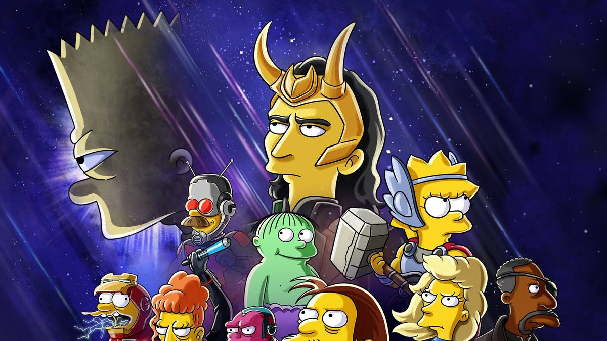 Loki surrounded by characters from 'The Simpsons'