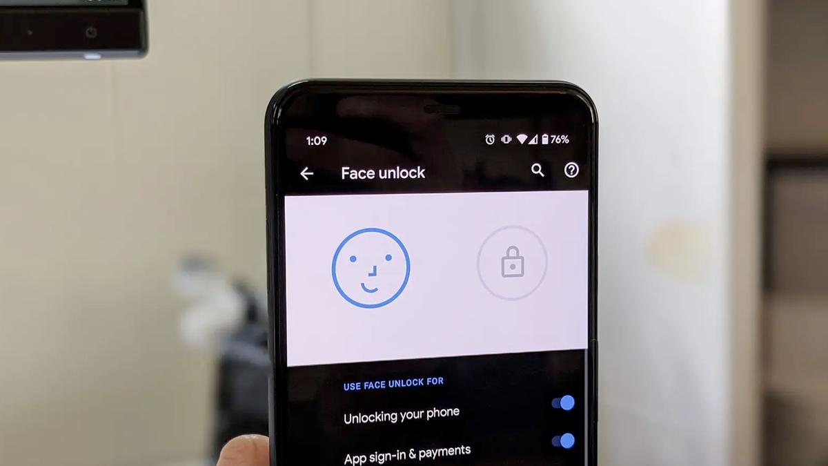 Google Pixel 4's face unlock feature.