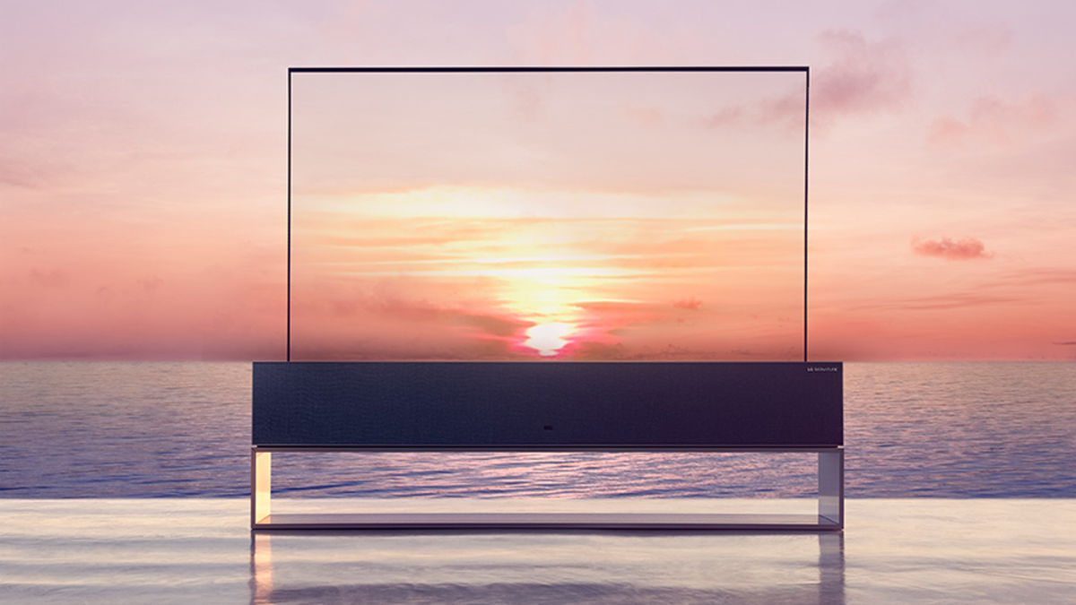 LG's rollable OLED TV outside against a pretty sunset