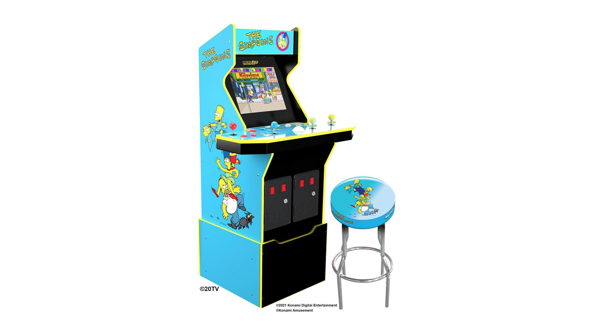A Simpsons arcade machine next to a matching stool.