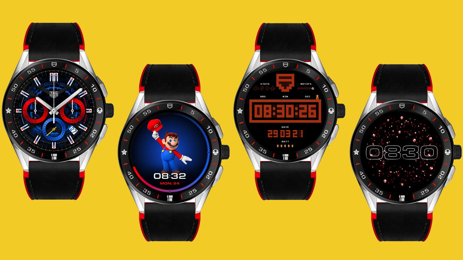 Four views of TAG Heuer x Super Mario watchface