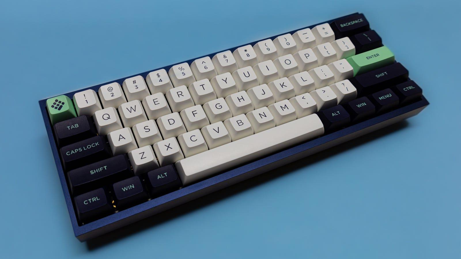 60% mechanical keyboard against blue background