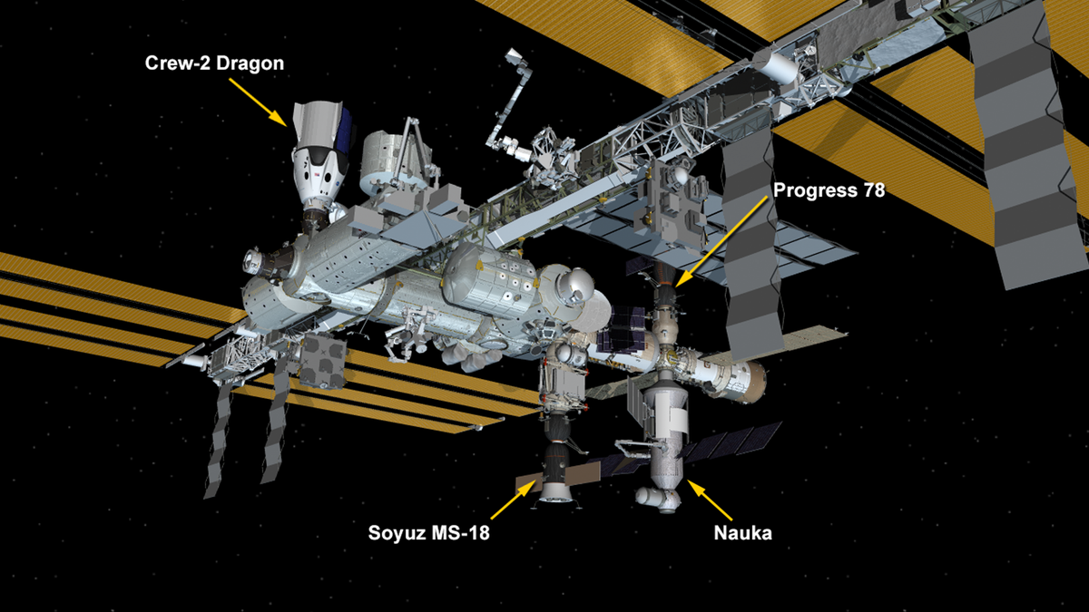 International Space Station Configuration. Three spaceships are docked at the space station including the SpaceX Crew Dragon and Russia's Soyuz MS-18 crew ship and ISS Progress 78 resupply ship. The new Nauka Multipurpose Logistics Module (MLM) is now attached to the Zvezda service module's Earth-facing port.