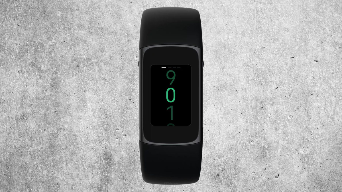 """New Fitbit """"Morgan"""" against a textured concrete background"""