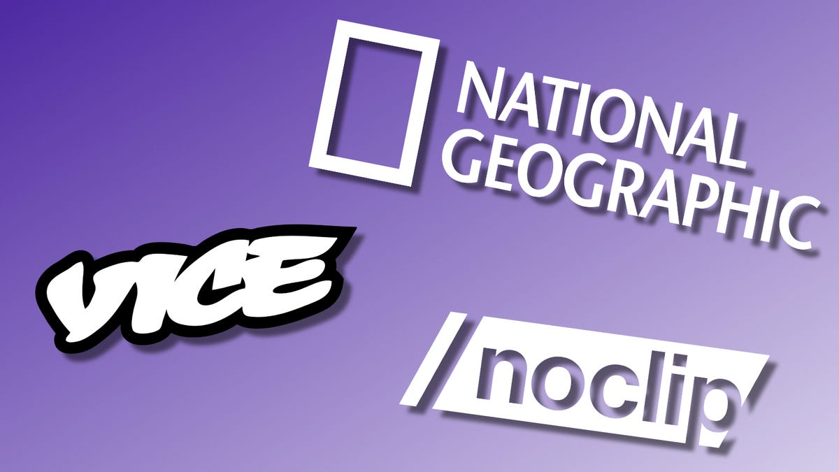 VICE, National Geographic, and NoClip logos over a purple backdrop