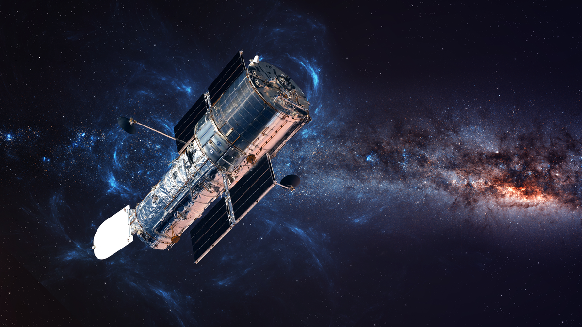 The Hubble Space Telescope in orbit, with elements of the image furnished by NASA