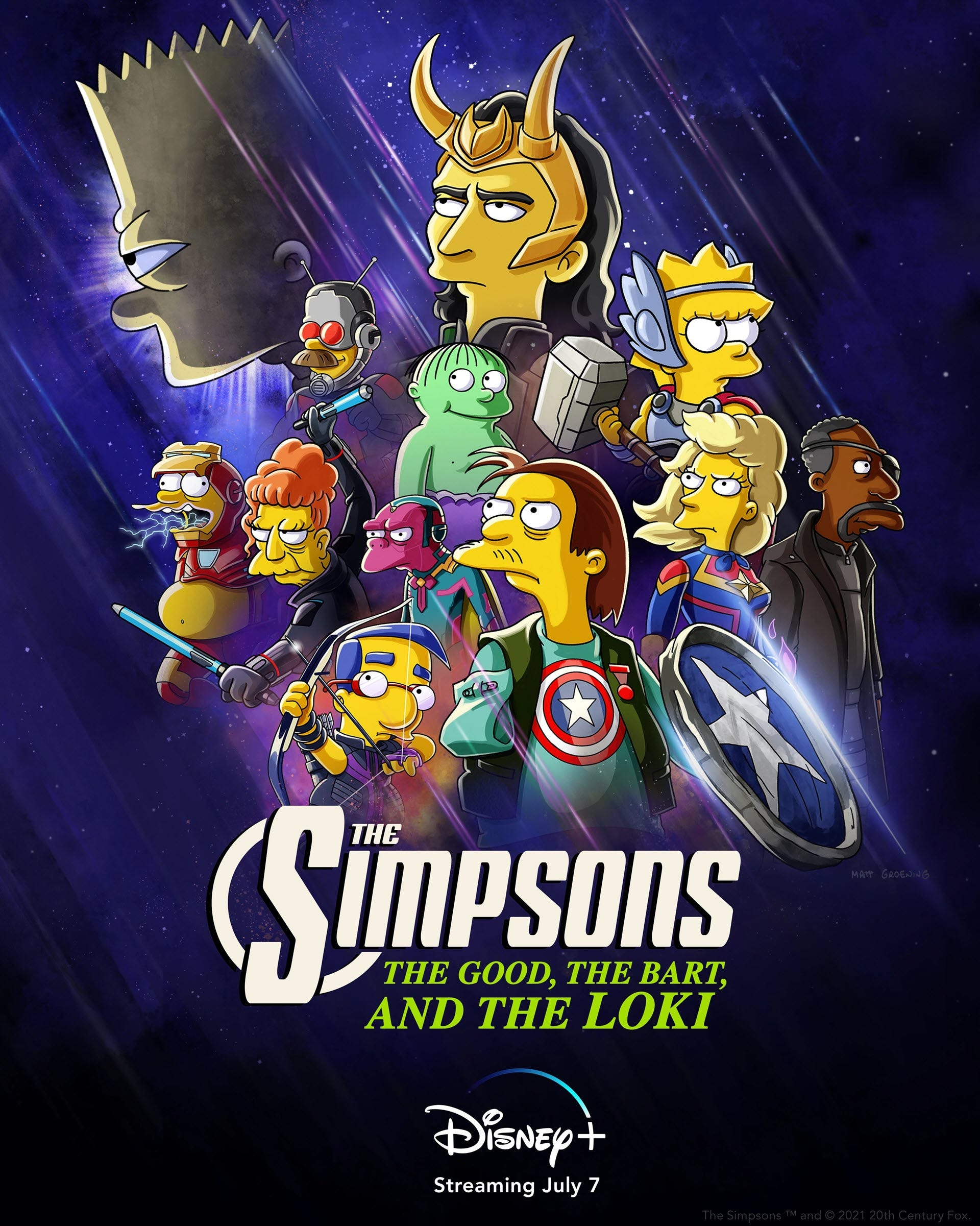 Loki surrounded by characters from 'The Simpsons' dressed as Avengers.