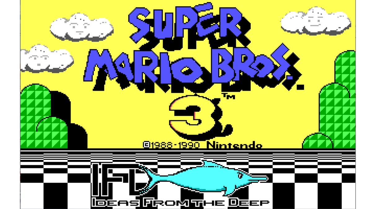 The opening screen for id Software's Mairo Bros 3 port.