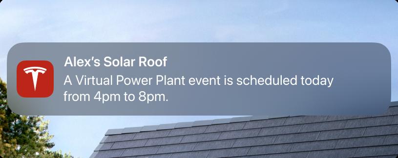 A Tesla Virtual Power Plant notification..