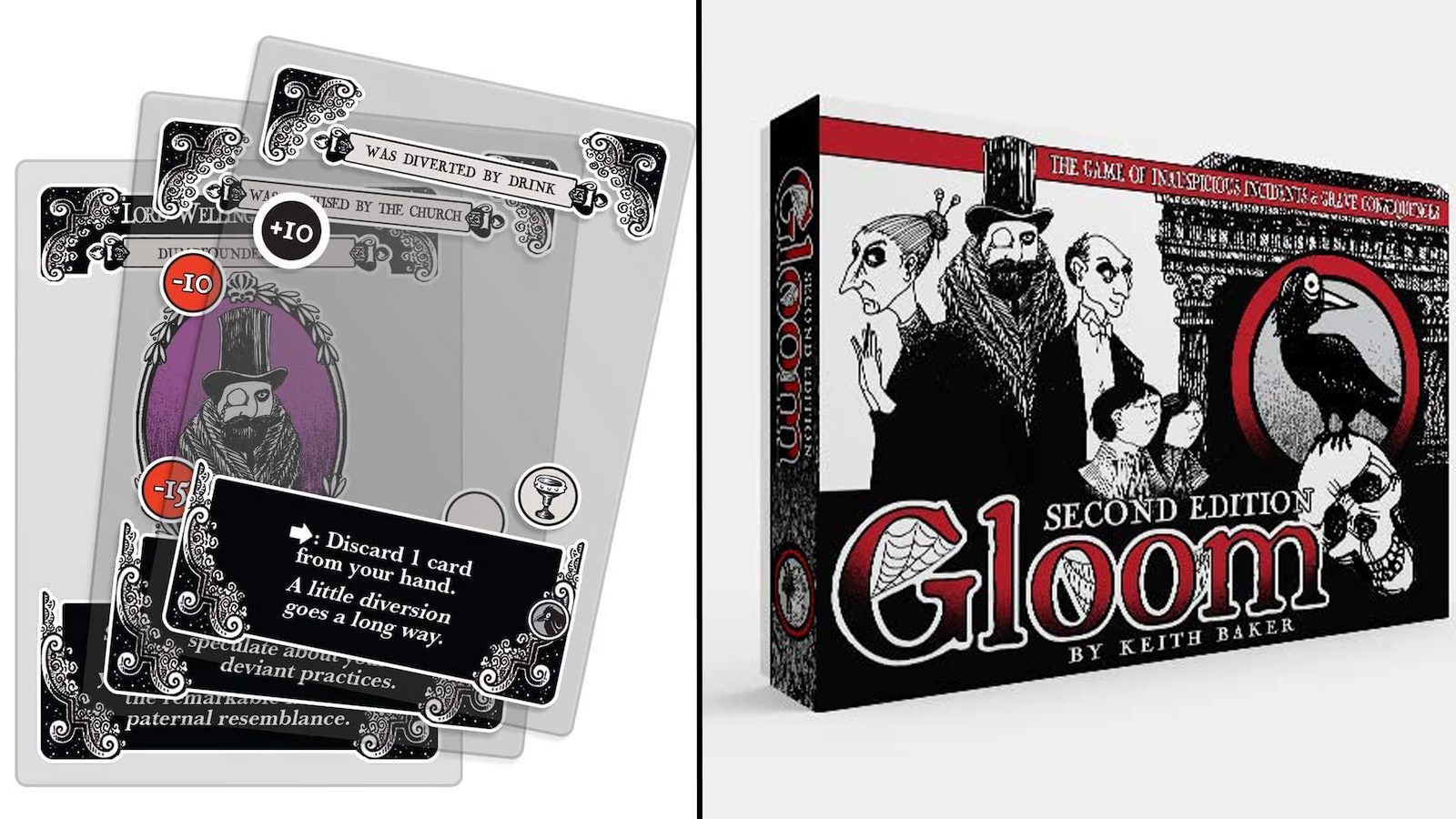 Transparent game cards and front of box