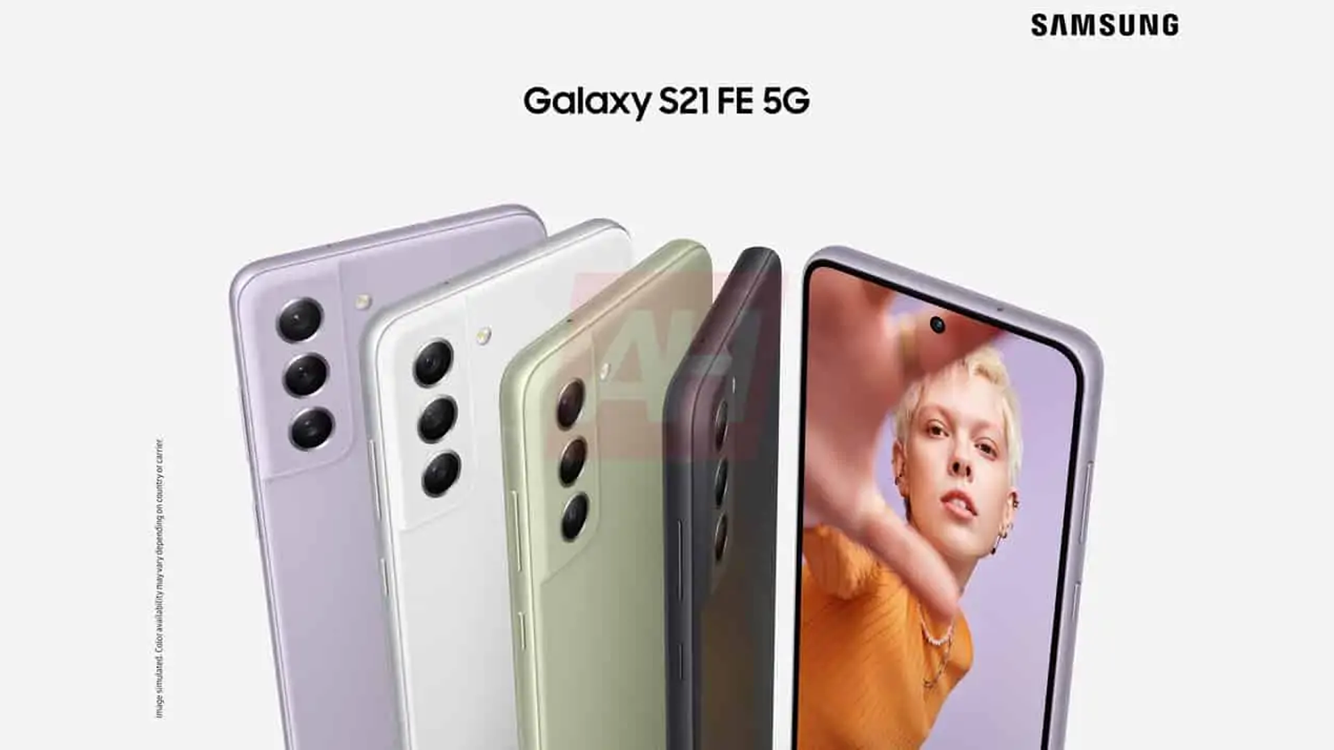 A leaked render of the Galaxy S21 FE ad.