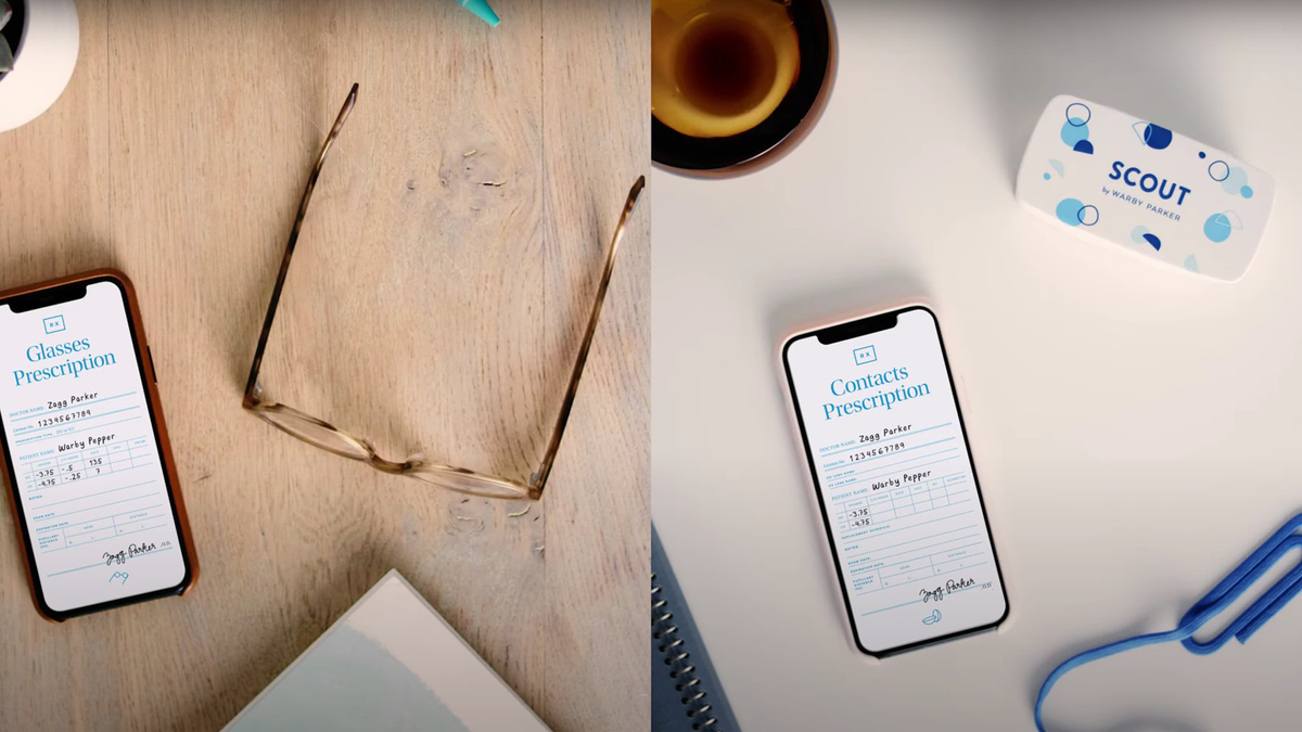 Warby Parker's Virtual Vision Test app open on smartphones near glasses and contacts