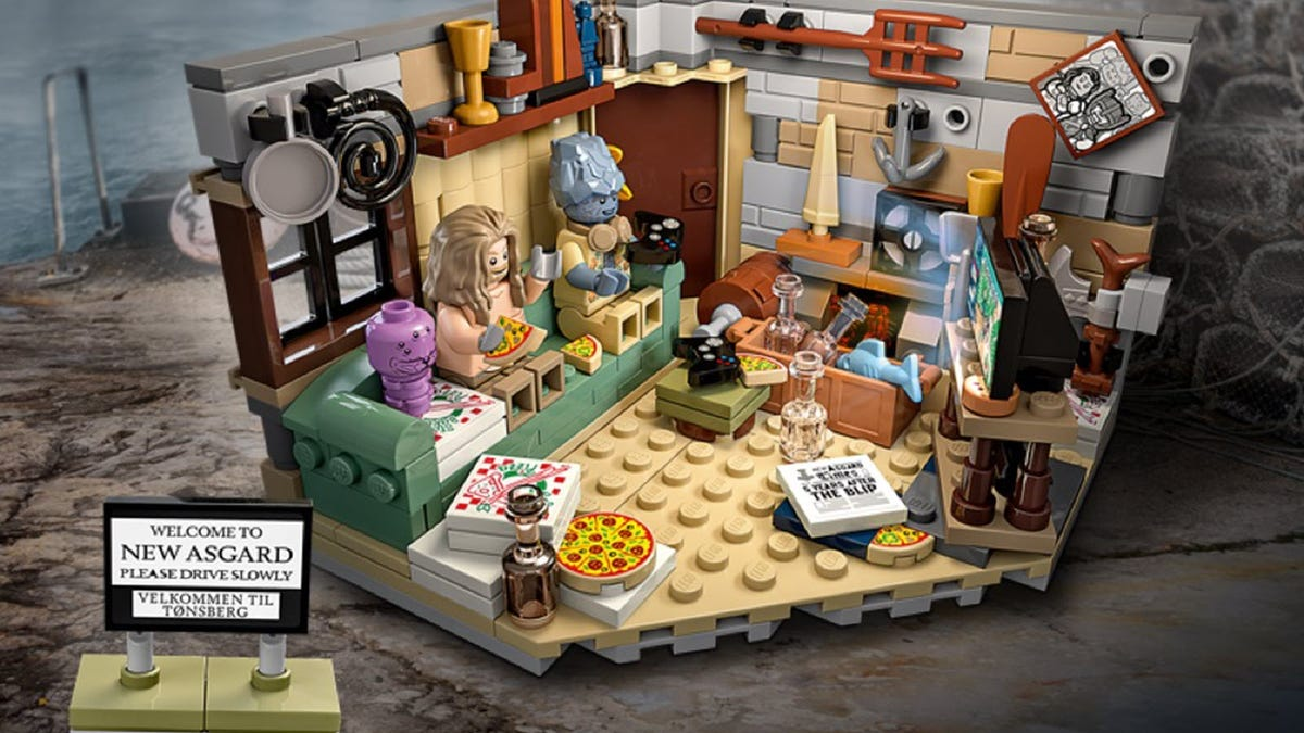 A LEGO set with Bro Thor in an apartment