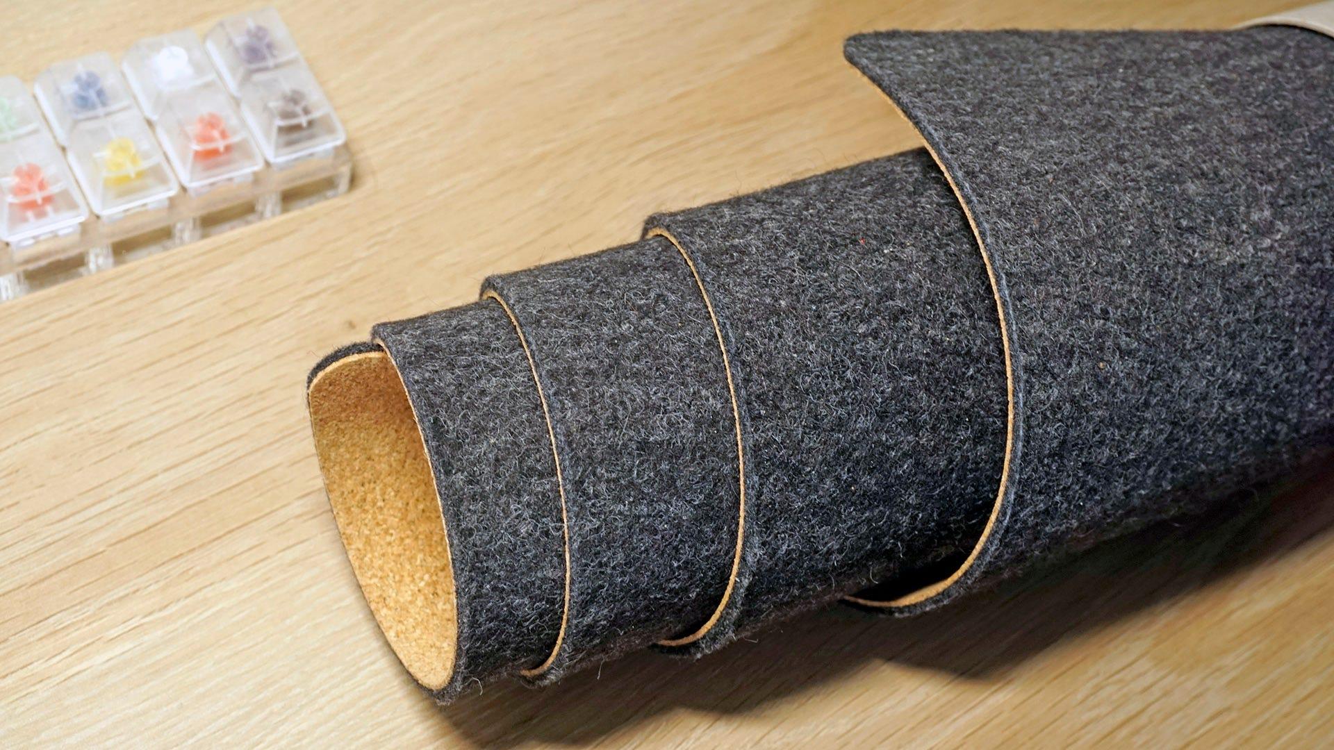 Oakywood felt desk mat rolled up