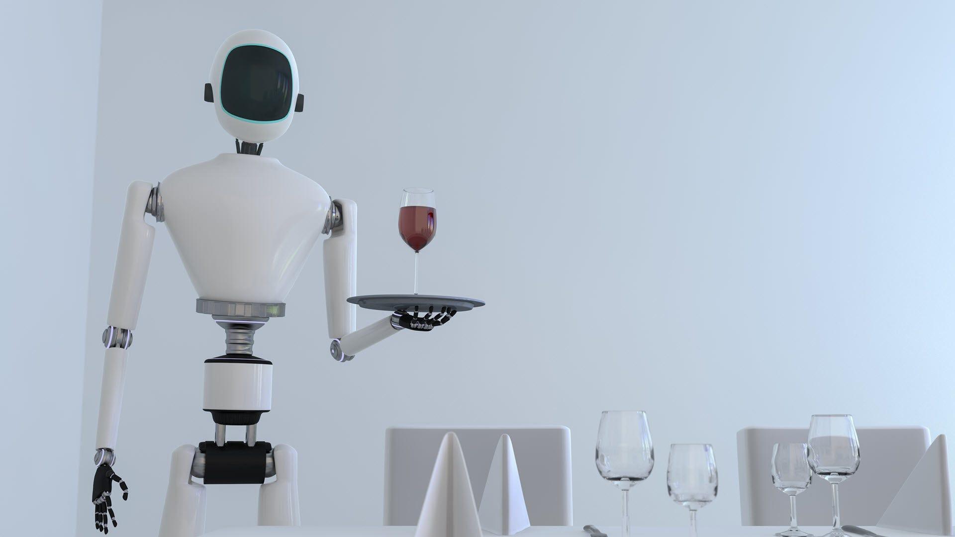 A robot butler serving wine