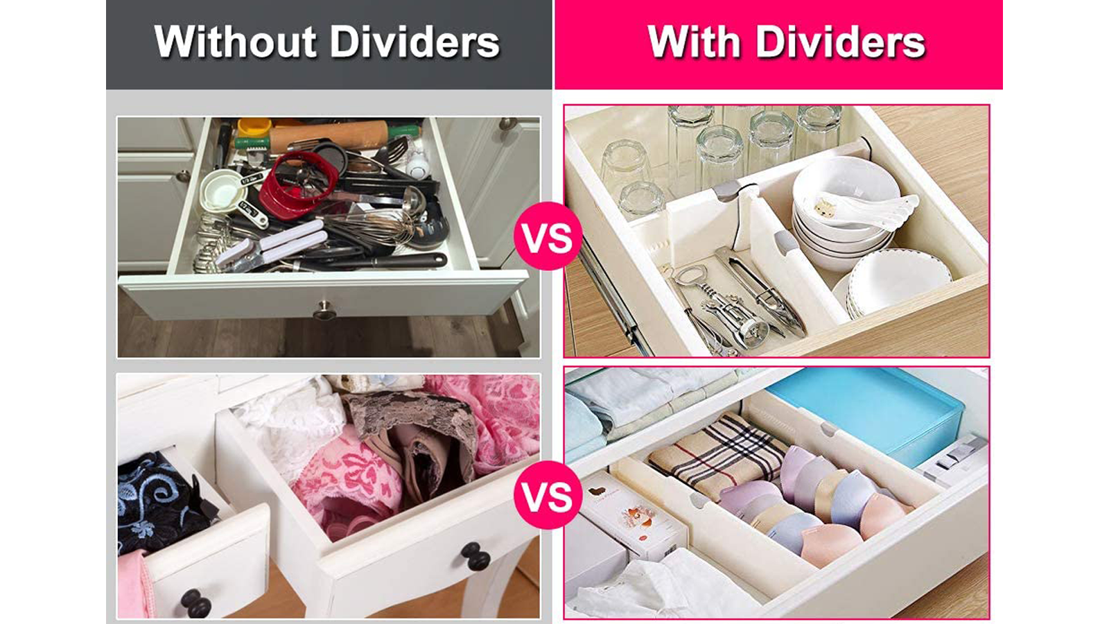 Keep Your Clothing and Accessories Organized with Adjustable Drawer Dividers