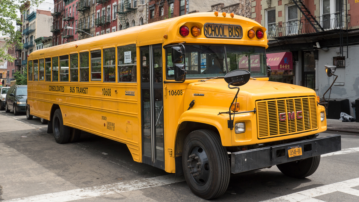 School bus in Chinatown, NYC