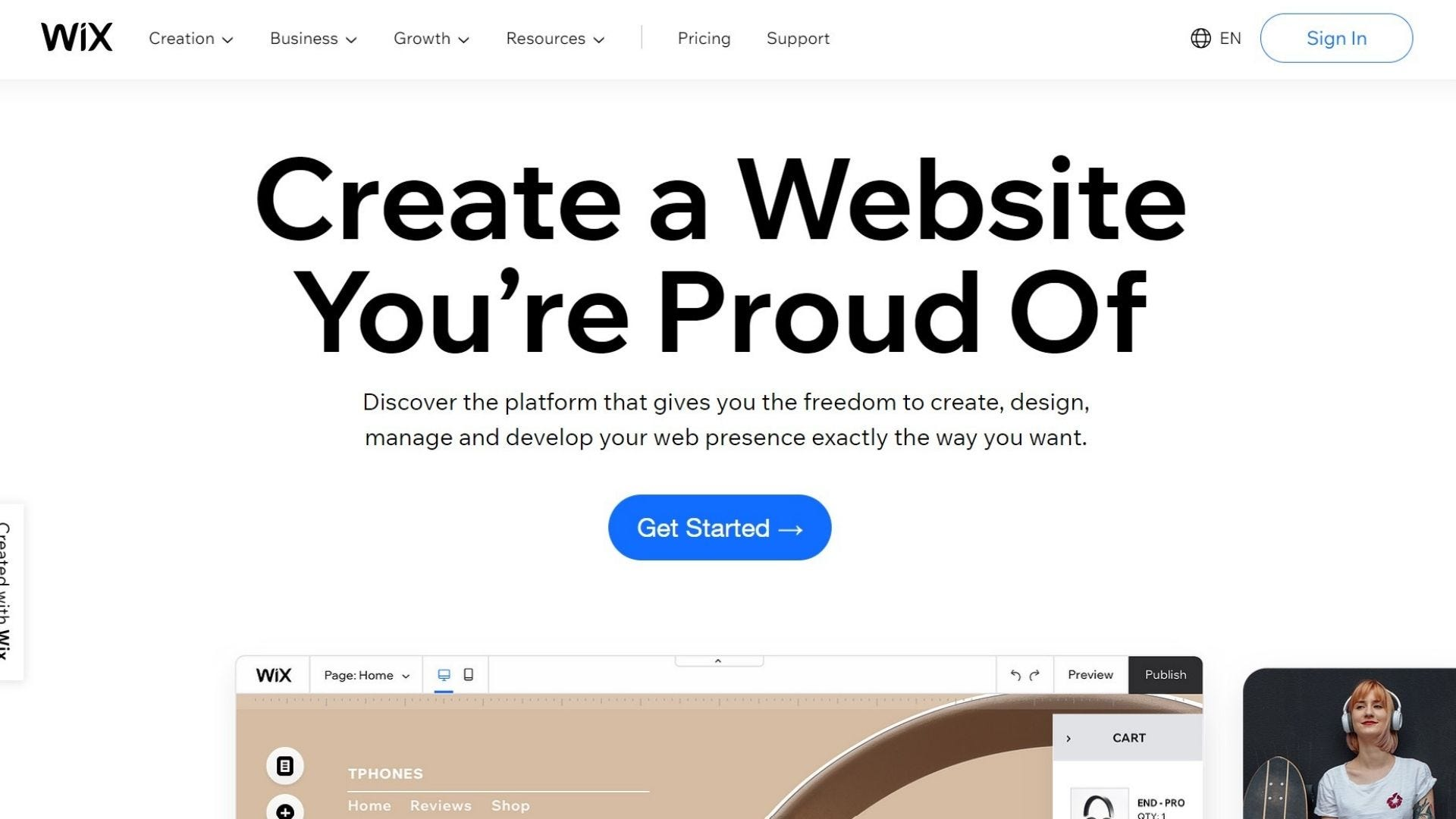 wix website builder home page