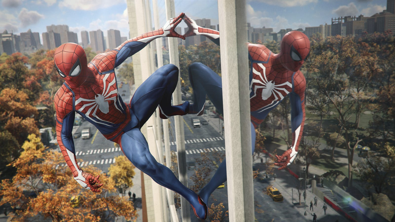 Spider-Man hanging onto a glass wall in 'Marvel's Spider-Man Remastered'