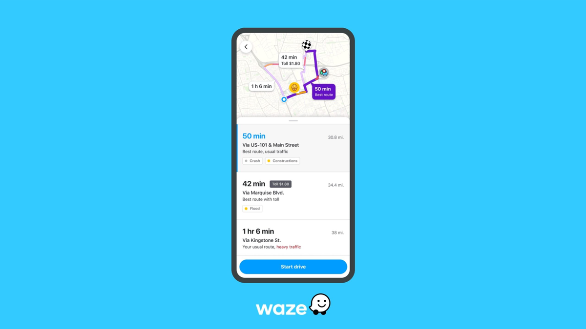 Waze's new Pre-Drive feature showing upcoming route information and alternative routes