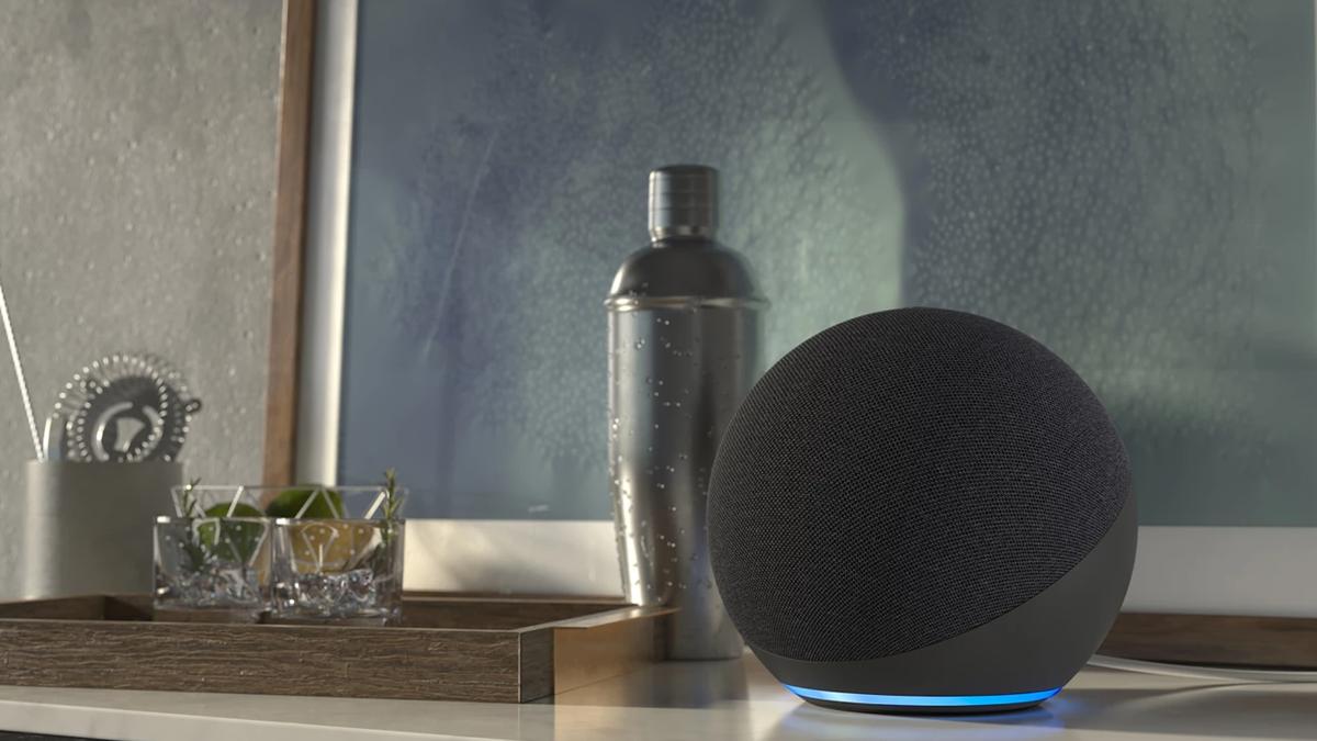 Amazon Alexa device on countertop in home